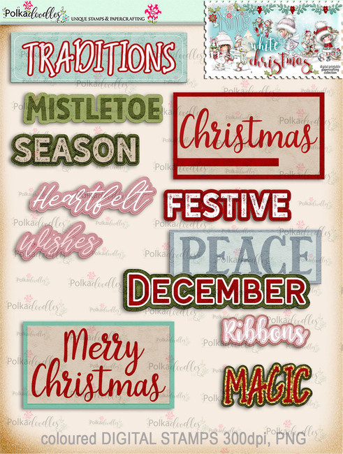 30+ Printable Christmas Word Art Embellishments - Winnie White Christmas...Craft printable download digital stamps/digi scrap