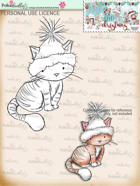 Cute Christmas Kitty  Digital Stamp download - Winnie White Christmas printables...Craft printable download digital stamps/digi scrap