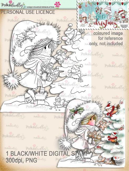 Feeding Winter Birds - Digital Stamp download. Winnie White Christmas printables.Craft printable download digital stamps/digi scrap