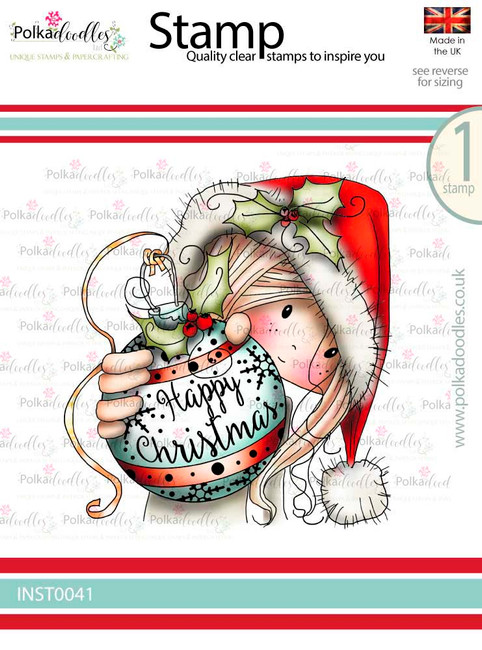 Winnie Christmas Bauble - Winnie White Christmas Clear Polymer Stamp.