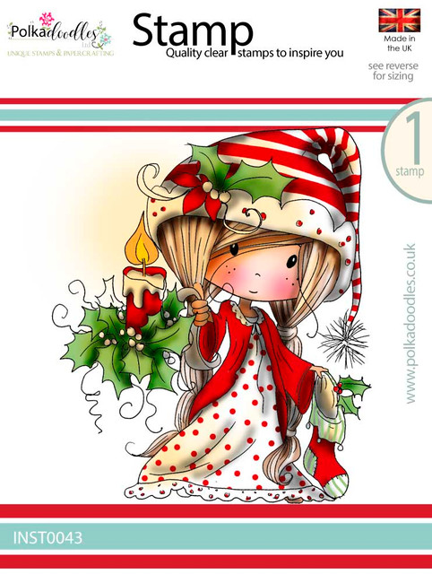 Winnie lighting the Way for Christmas - Winnie White Christmas Clear Polymer Stamp.