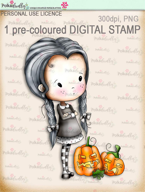 Winnie Wednesday Pumpkins - Digital Stamp download printable clipart. Craft printable download digital stamps/digi scrap
