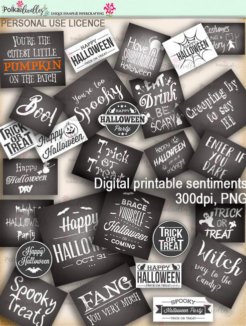 Printable download Halloween Trick or Treat Sentiments - Digital Stamp download printable clipart. Craft printable download digital stamps/digi scrap