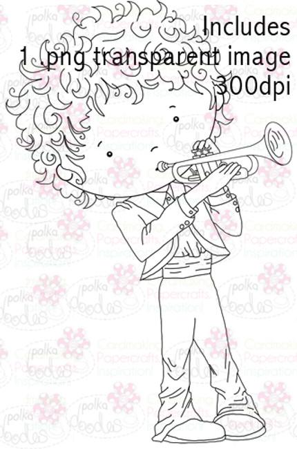 Trumpet Boy digital stamp download