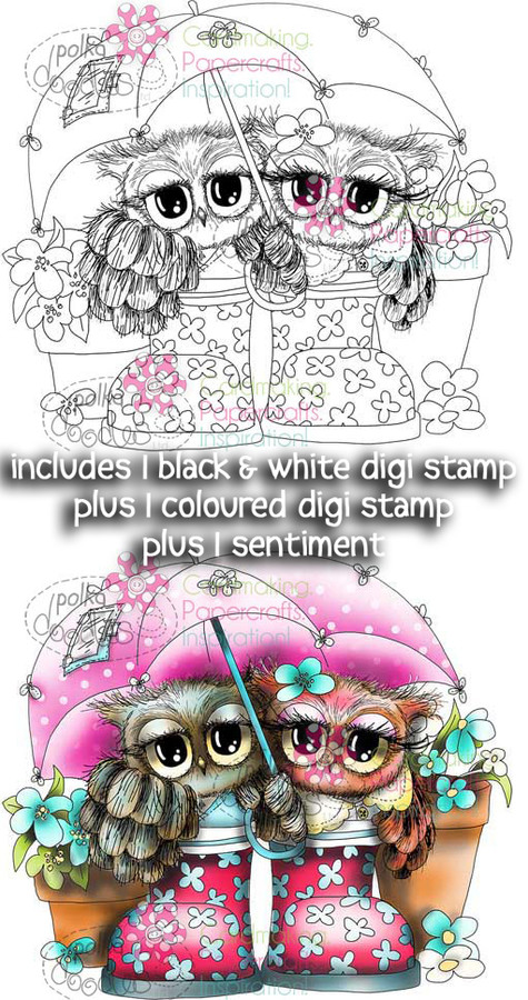 Umbrella, Rainy Day, Friends, Boots, Wellies - Twiggy & Toots Digital Stamp Craft Download