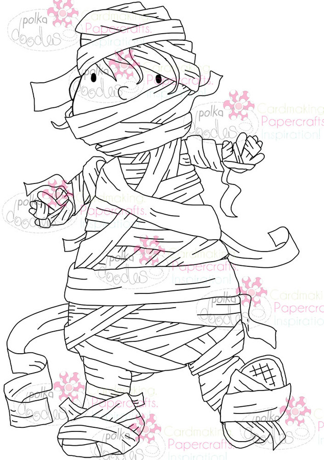 Spooky Mummy - Mono - Halloween digital stamp download