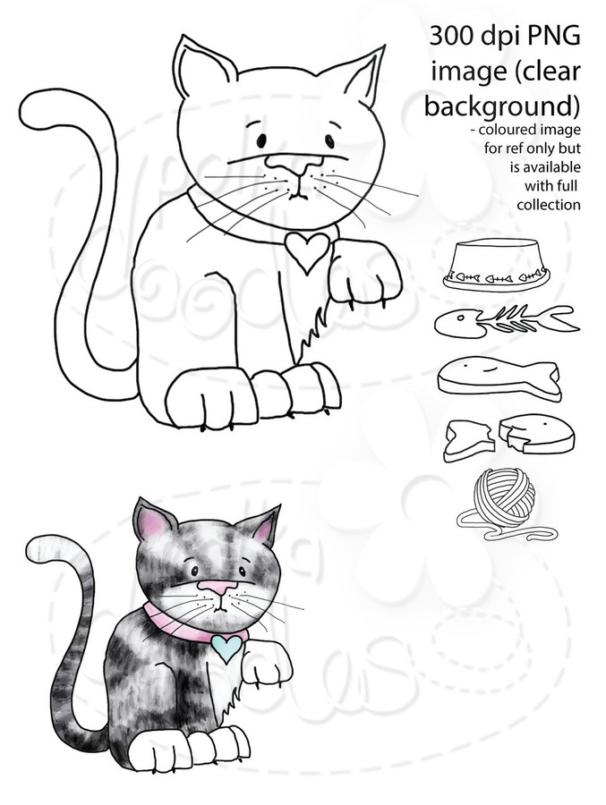 Cute Kitty Cat Digital Stamp