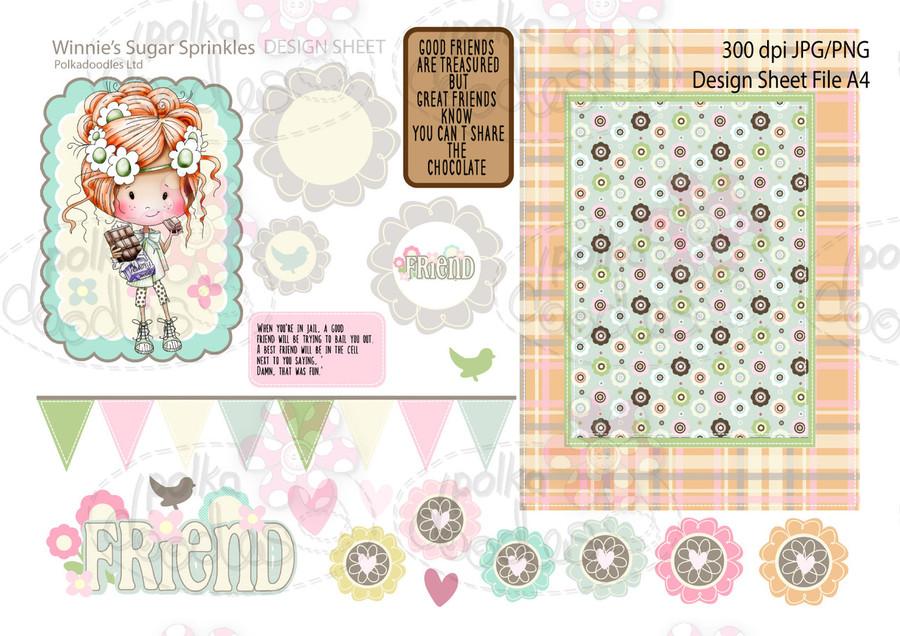Winnie Sugar Sprinkles Springtime DESIGN SHEET 8 - Printable Crafting Digital Stamp Craft Scrapbooking Download