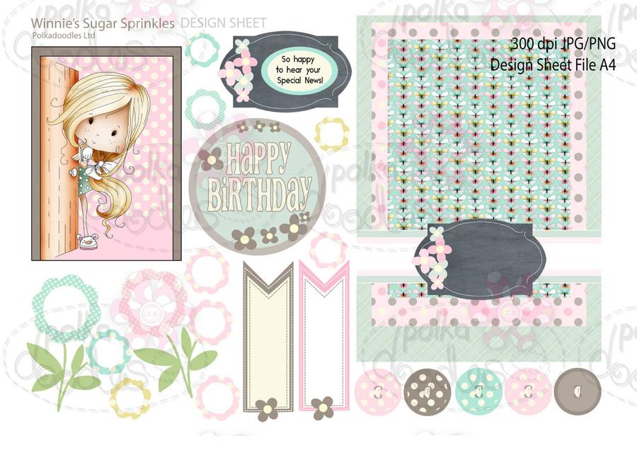 Winnie Sugar Sprinkles Springtime DESIGN SHEET 10 - Printable Crafting Digital Stamp Craft Scrapbooking Download