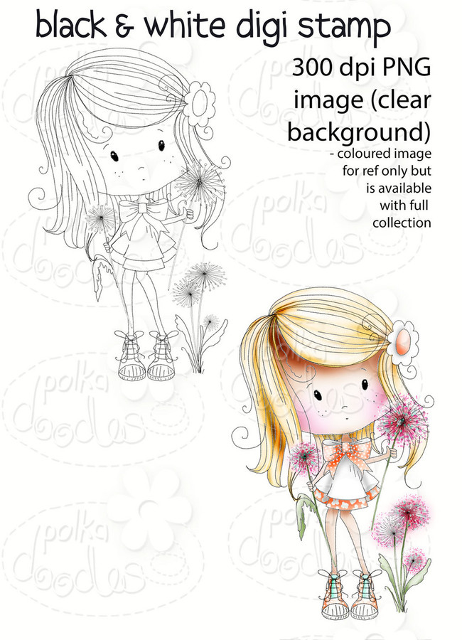 Dandelion Days - Winnie Fruit Punch Printable Digital Craft Stamp Download, digiscrap