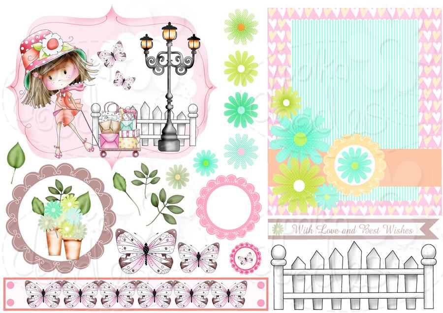 Let's Go Shop - Winnie Fruit Punch Printable Digital Craft Stamp Download, digiscrap
