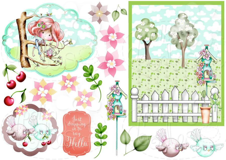 Aim High - Winnie Fruit Punch Printable Digital Craft Stamp Download, digiscrap