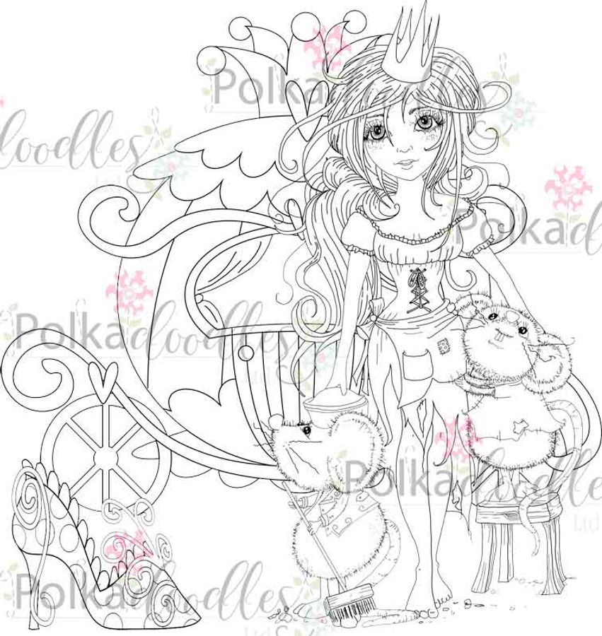 Cinders with Mice and slipper - digital craft Stamp download