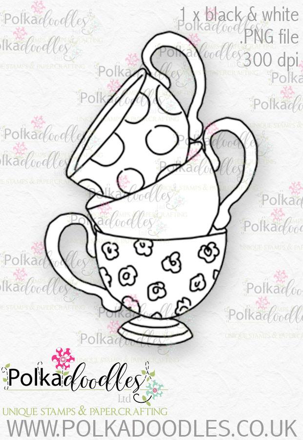 Winnie Wonderland Teacups - Printable Digital stamp download