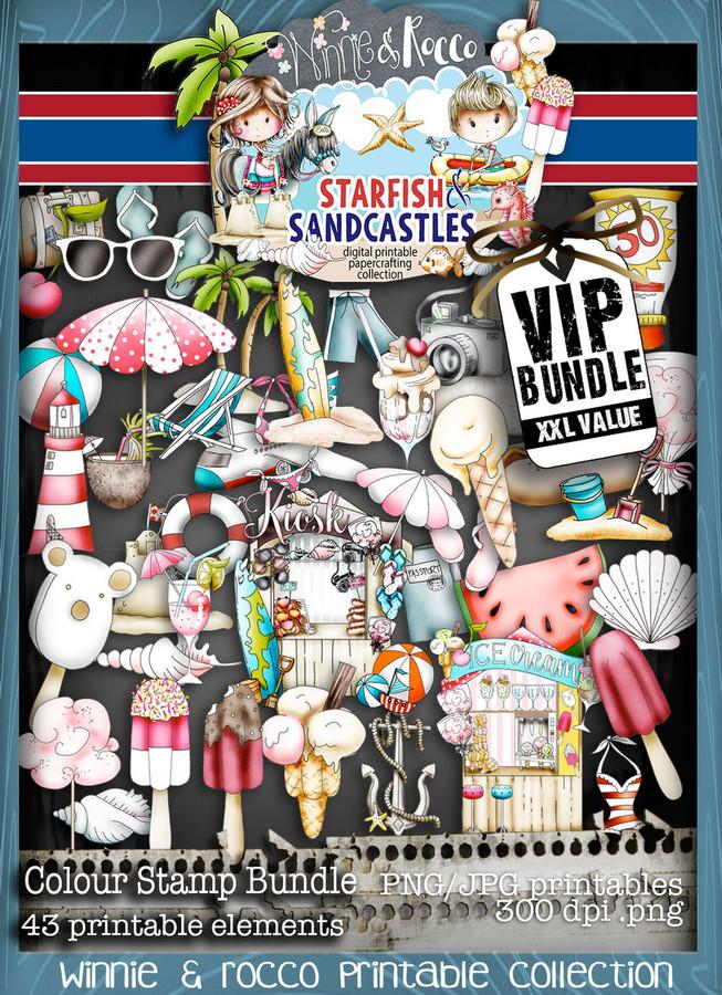 Winnie Starfish/Sandcastles - 46 Colour Embellishment digi stamps DOWNLOAD