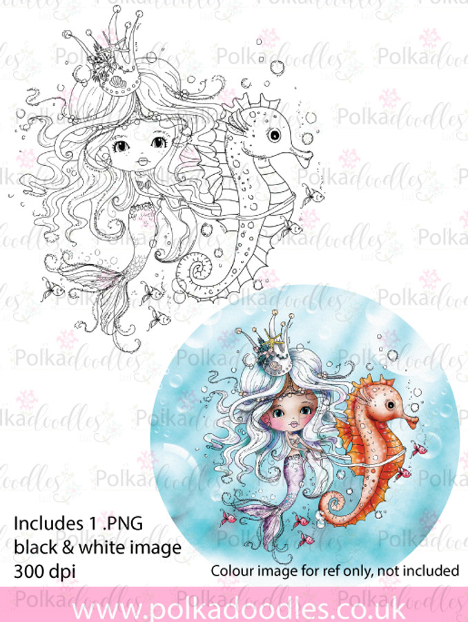 Meribelle Seahorse - digital craft stamp download