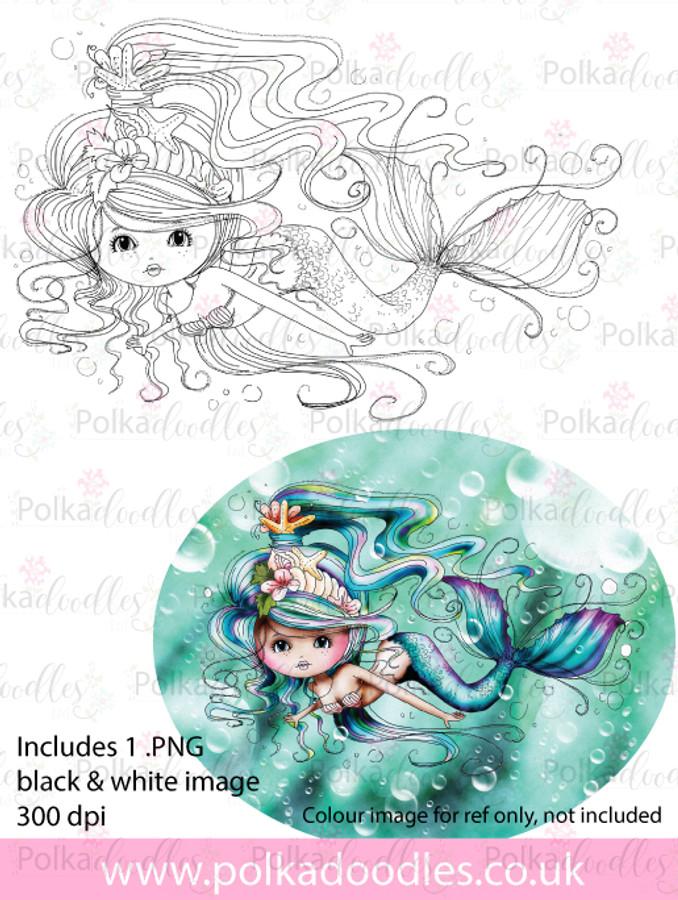 Meribelle Swimming around - digital craft stamp download