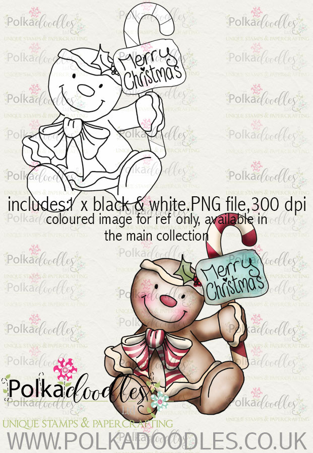 Baked With Love - Gingerbread man Merry Xmas digital craft download