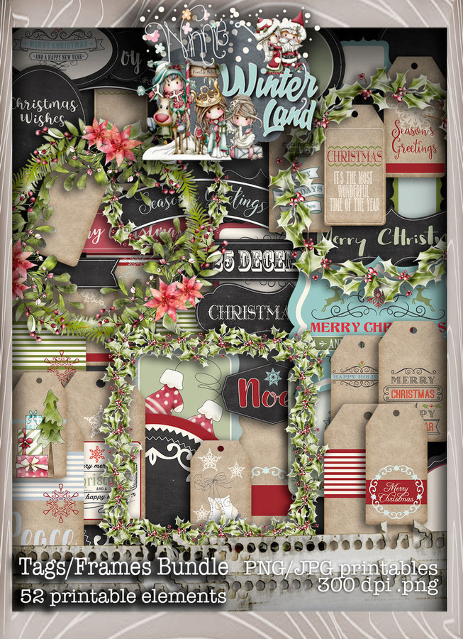 Winnie Winterland - Tags/Frames digital craft papers download