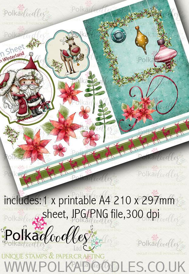 Winnie Winterland - Design Sheet 3 digital craft papers download
