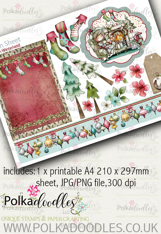 Winnie Winterland - Design Sheet 5 digital craft papers download