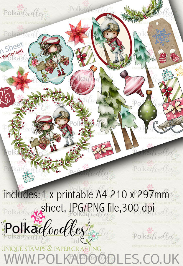 Winnie Winterland - Design Sheet 10 digital craft papers download