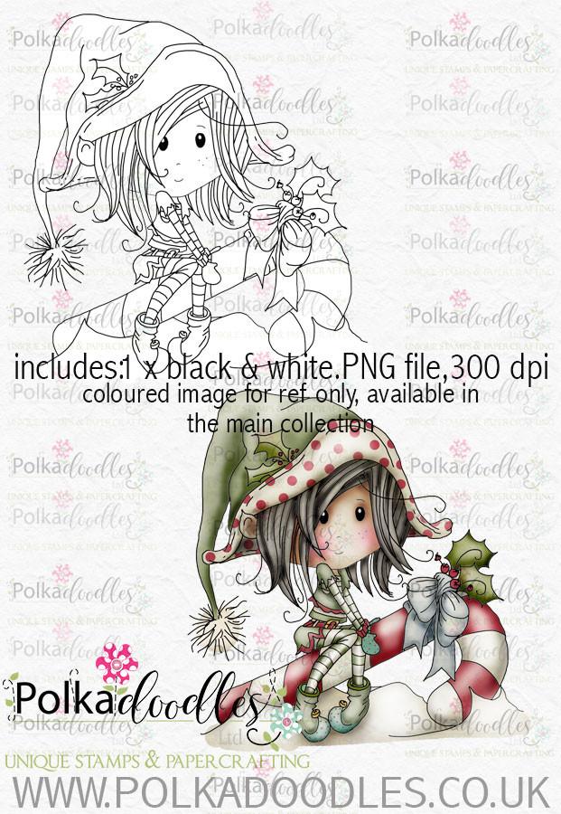 Winnie Winterland - Candy Cane Elf digital craft stamp download