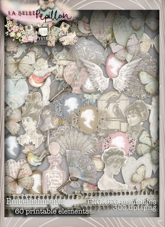 Belle Papillon Embellishments - Download Printables