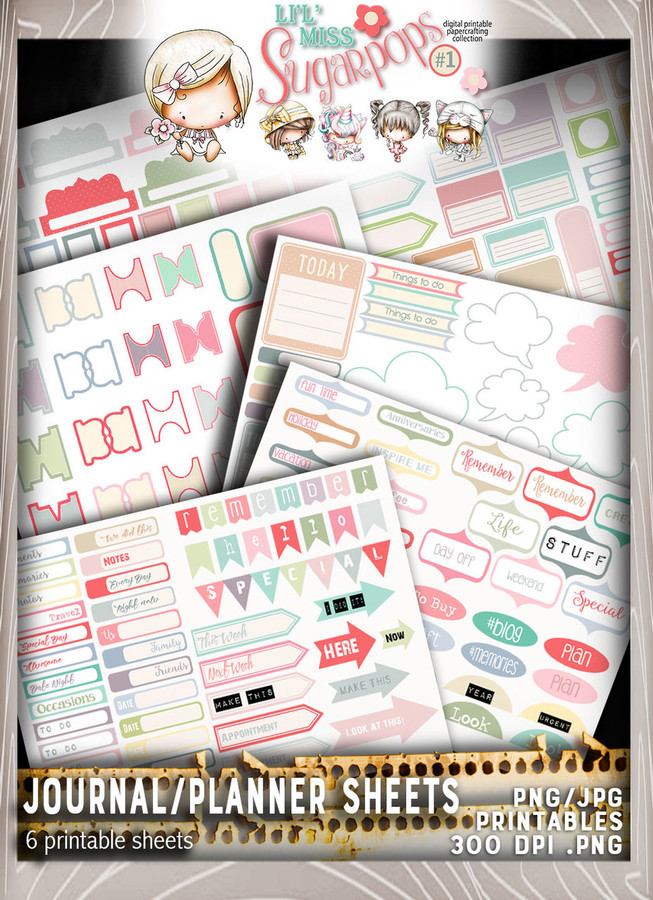 Journal/Planner pages - Lil Miss Sugarpops Kit 1...Craft printable download digital stamps/digi scrap kit