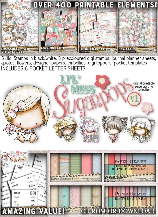 Lil Miss Sugarpops Kit 1 Big bundle...Craft printable download digital stamps/digi scrap kit