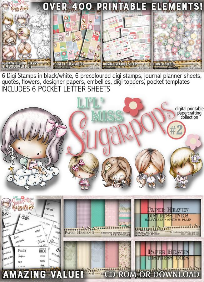 Lil Miss Sugarpops Kit 2 Big bundle...Craft printable download digital stamps/digi scrap kit