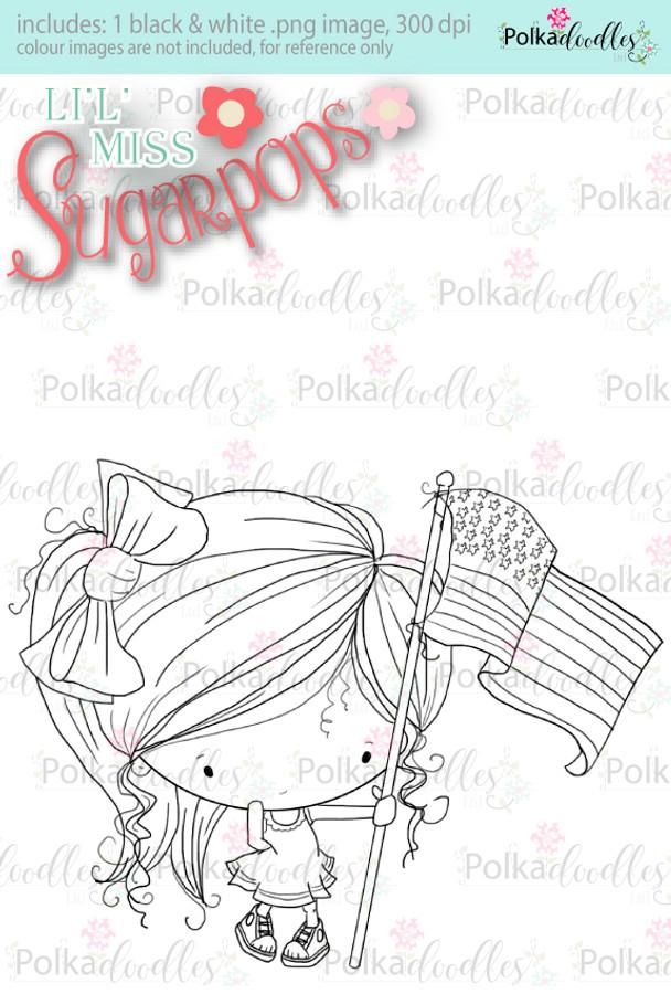 USA/4th July/Flag digi stamp - Lil Miss Sugarpops 3...Craft printable download digital stamps/digi scrap