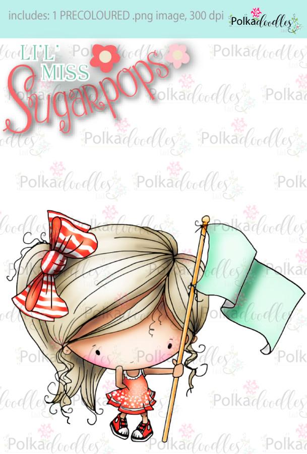 Flying the Flag/Banner/Marching PRECOLOURED digi stamp - Lil Miss Sugarpops 3 craft digi download