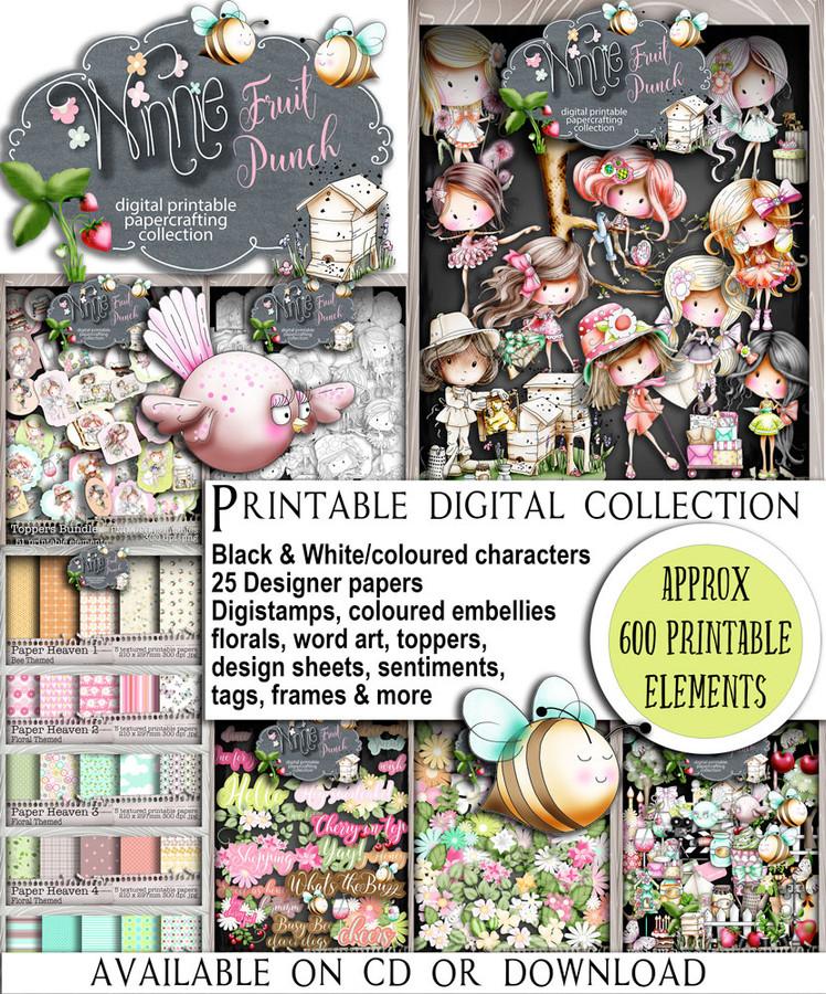 Winnie Fruit Punch (download) bundle - Printable Digital Craft kit