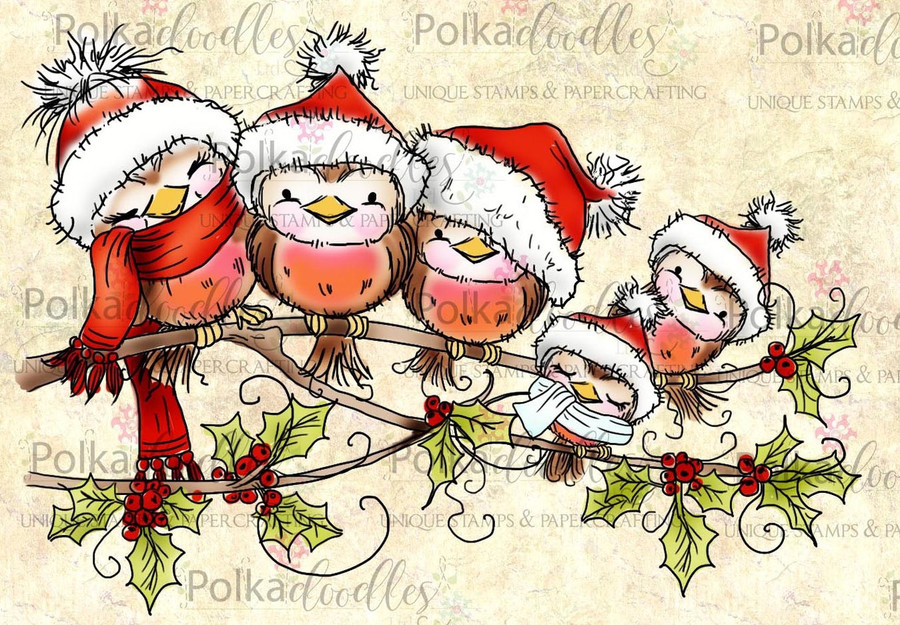 Christmas Robin Cuddles -  Clear Stamp Set