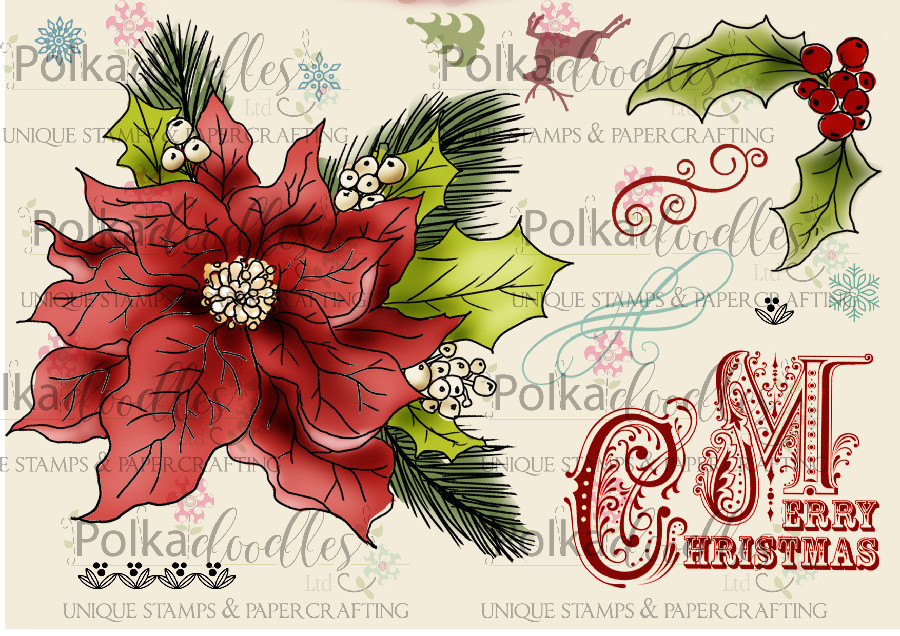 Christmas Poinsettia/Holly -  Clear Stamp Set
