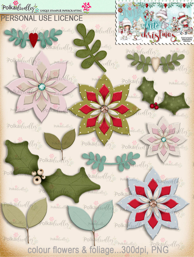 70+ Printable Embellishments - Winnie White Christmas...Craft printable download digital stamps/digi scrap