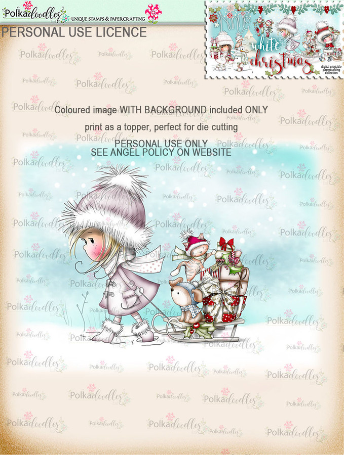 Sleightime Friends - Coloured Digital Stamp download. Winnie White Christmas printables.Craft printable download digital stamps/digi scrap