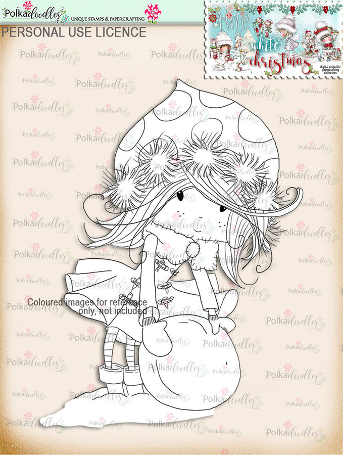 Rolling Snowballs - Digital Stamp download. Winnie White Christmas printables.Craft printable download digital stamps/digi scrap