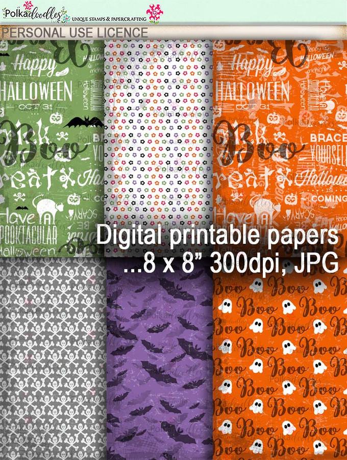 Printable download Halloween Trick or Treat papers 3 - Digital Stamp download printable clipart. Craft printable download digital stamps/digi scrap