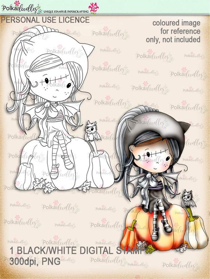 Winnie Wednesday Bat girl - Digital Stamp download printable clipart. Craft printable download digital stamps/digi scrap
