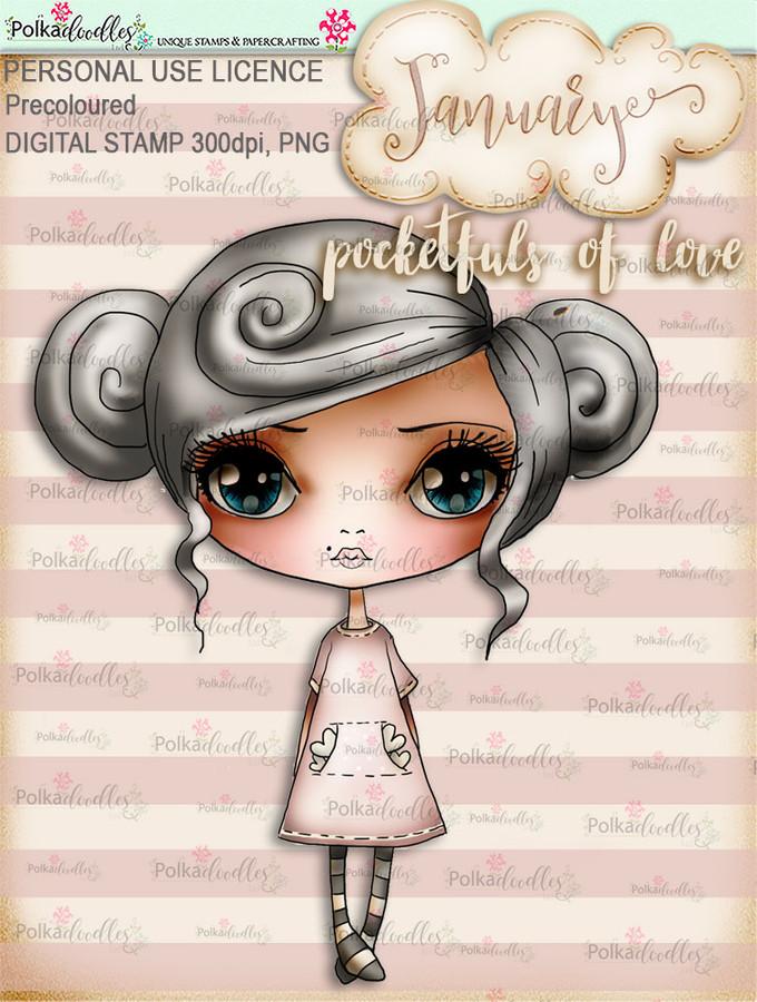 Pocketfuls of Love - January. Coloured Craft digi download