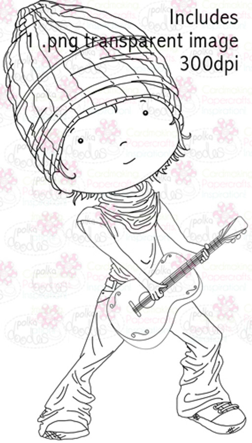 Guitar Boy digital stamp download