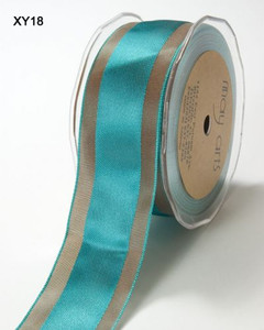 Teal/Brown Satin Centre Band May Arts Ribbon