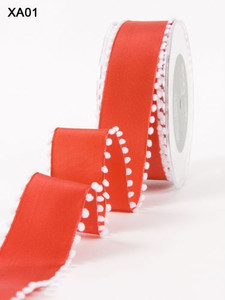 Red/White PomPom Edge Wired May Arts Ribbon