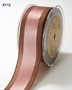 Pink/Brown Satin Centre Band May Arts Ribbon