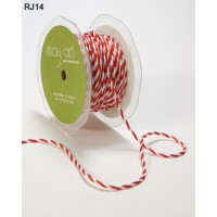 "Red/White 1/4"" Twisted Cord May Arts Ribbon x 1m"
