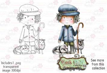 Farmer/Shepherd Digital Stamp - Work & Play 10 Digital Craft Download