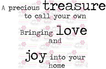 Treasure Love Joy sentiment downloadable digital stamp