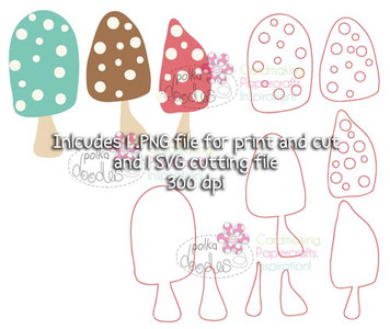 Toadstools/mushrooms SVG Cutting file - Digital Craft Download